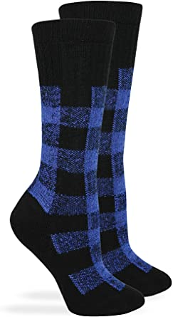 Outdoor Obsession Womens Merino Wool Blend Plaid Full Cushion Crew Boot Socks 1 Pair Pack Apparel