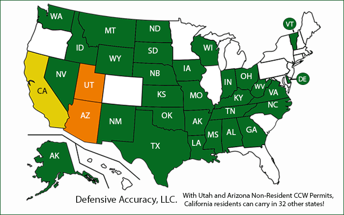 UTAH & ARIZONA NON-RESIDENT CCW CARRY IN 32 STATES! CLASSES NOW IN DUBLIN map